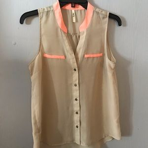 Sheer sleeveless button down